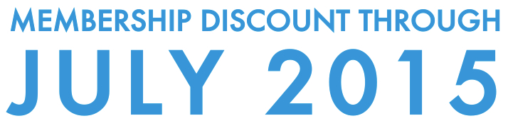 Membership Discount Through July 2015